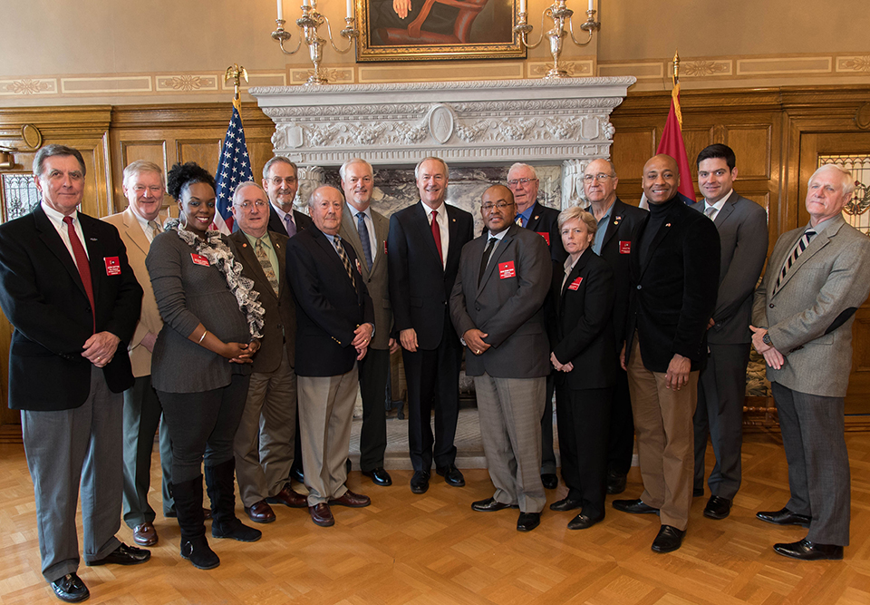Commissioners with Gov. Asa Hutchinson